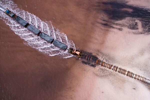 Вид сверху на соленое озеро Бурлинское в Славгородском районе Алтайского края - Sputnik Таджикистан