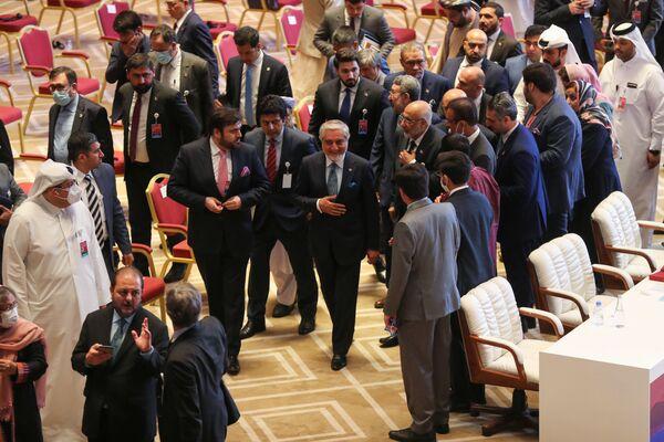 Афганиский политик Абдулла Абдулла во время переговоров между правительством Афганистана и движением Талибан (запрещено в РФ) в Катаре - Sputnik Тоҷикистон