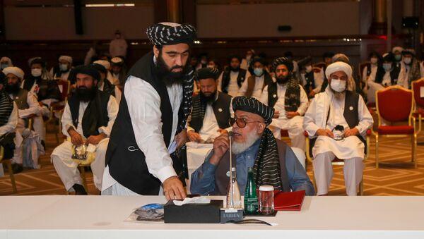 Делегация движения Талибан (запрещено в РФ), прибывшая в Катар на переговоры с правительством Афганистана - Sputnik Тоҷикистон