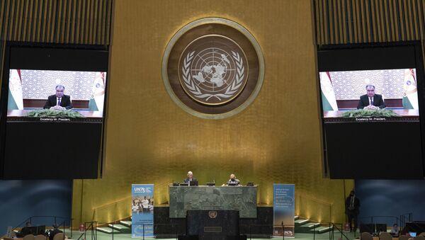 Выступление Эмомали Рахмона на встрече высокого уровня Генеральной Ассамблеии ООН - Sputnik Тоҷикистон