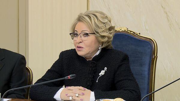 Председатель Совета Федерации РФ Валентина Матвиенко на заседании Совета Федерации РФ - Sputnik Таджикистан