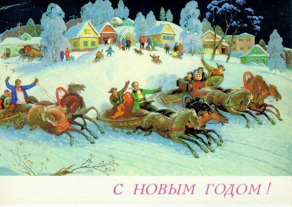 Новогодняя открытка Народные гулянья в Новый год - Sputnik Таджикистан