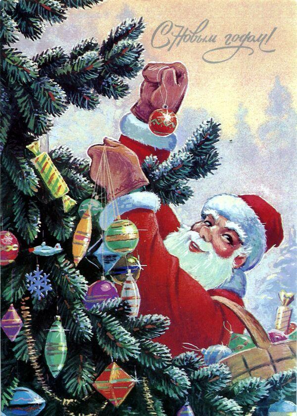 Новогодняя открытка Дед Мороз наряжает ёлку - Sputnik Таджикистан