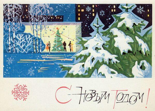 Новогодняя открытка Советская архитектура и ёлки - Sputnik Таджикистан