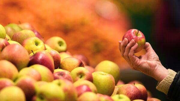 Яблоки в руке покупателя в магазине - Sputnik Таджикистан