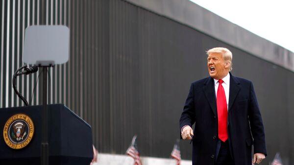 Президент США Дональд Трамп во время посещения пограничной стены между США и Мексикой в Аламо, штат Техас - Sputnik Таджикистан
