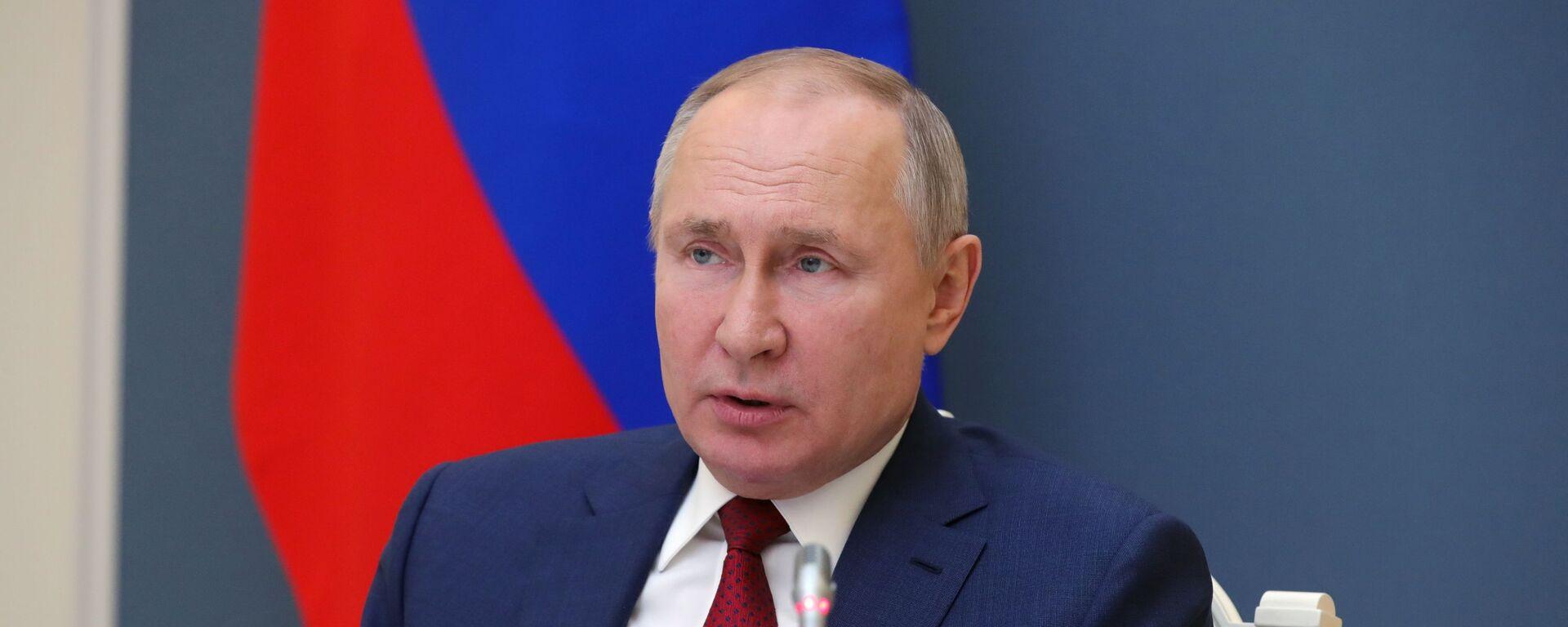 Президент РФ В. Путин выступил на сессии онлайн-форума Давосская повестка дня 2021 - Sputnik Тоҷикистон, 1920, 13.05.2021