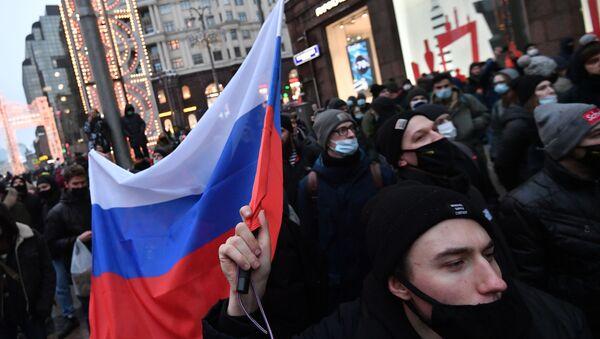 Участники несанкционированной акции сторонников Алексея Навального в Москве.  - Sputnik Таджикистан