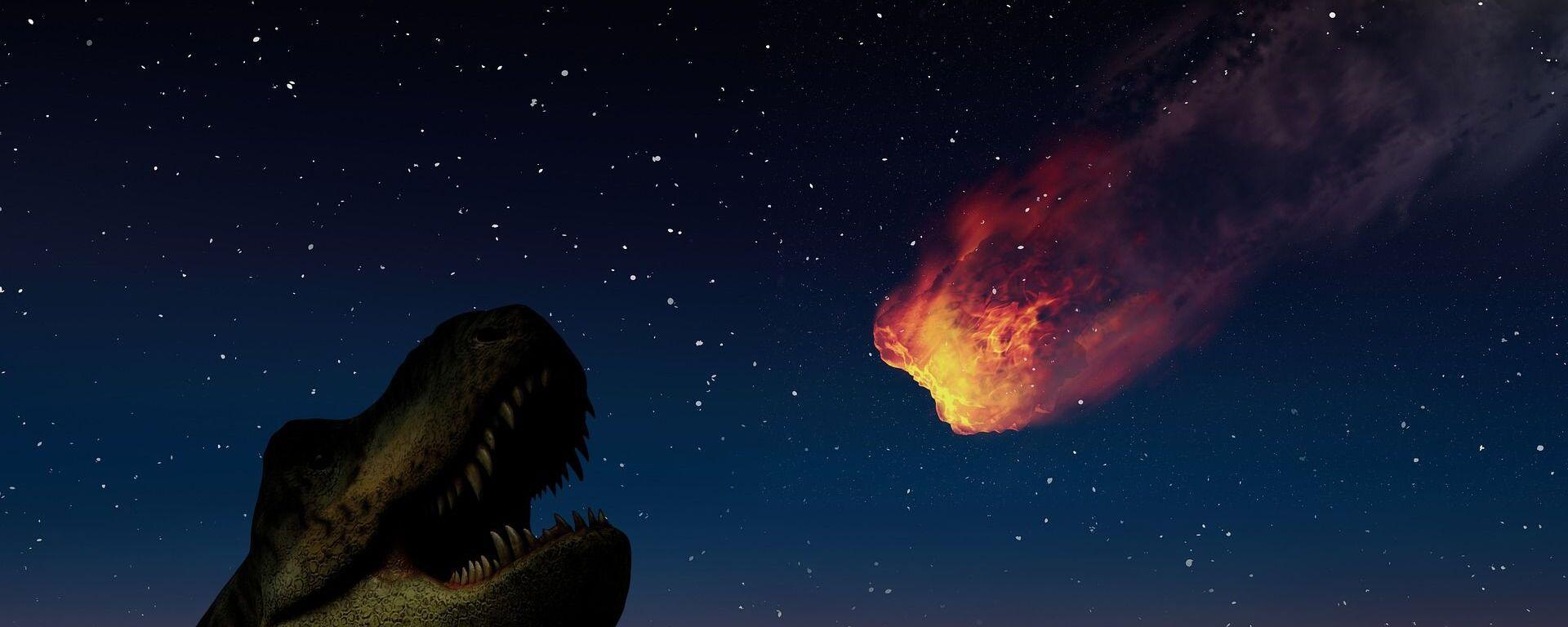 Иллюстрация астероида который предположительно уничтожил динозавров - Sputnik Таджикистан, 1920, 15.02.2021