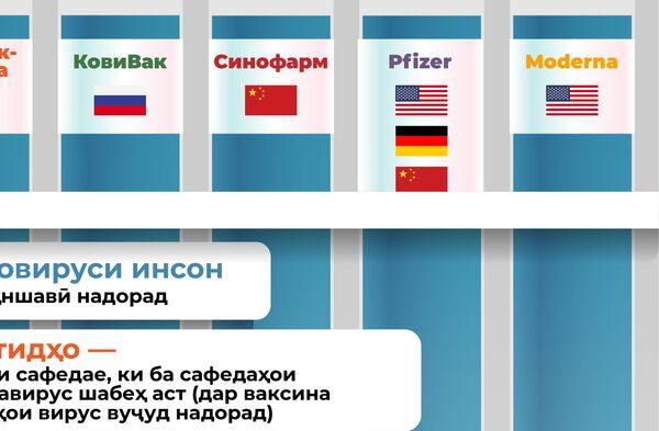 Муқоисаи ваксинҳои COVID-19 - Sputnik Тоҷикистон