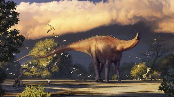 Иллюстрация динозавра Диплодока - Sputnik Таджикистан
