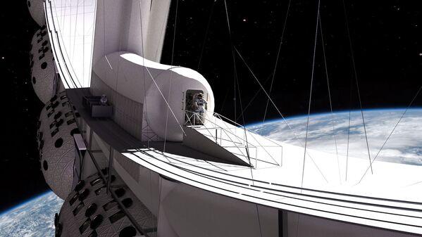 Но вне всяких сомнений, главная изюминка гостиницы - возможность выйти  в открытый космос - Sputnik Таджикистан