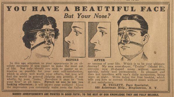 У вас красивое лицо, но все портит нос? Фото из публикации об исправлении формы носа. Декабрь 1916 года - Sputnik Таджикистан