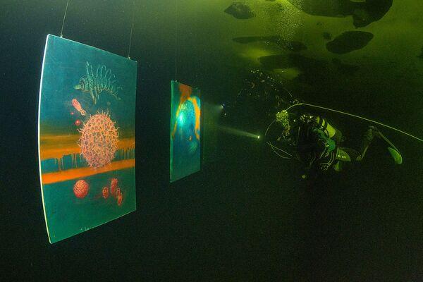 Под водой разместили десять фотографий размером 80 на 120 сантиметров - Sputnik Таджикистан