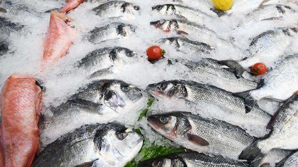 Рыба на прилавке торгового ряда  - Sputnik Таджикистан
