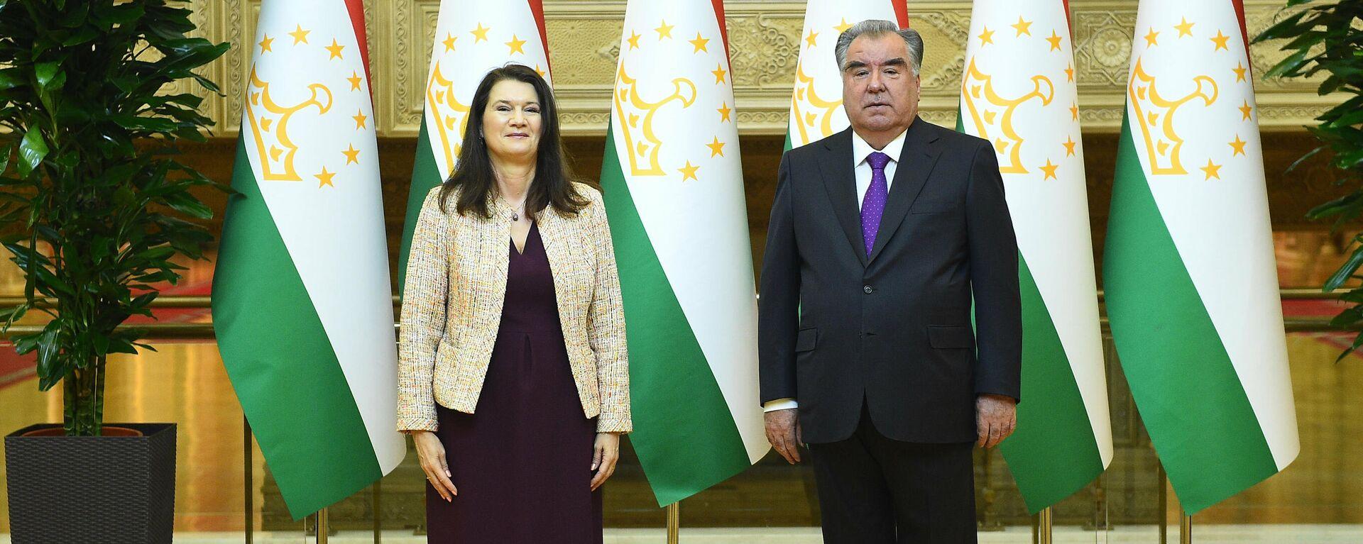 Глава ОБСЕ Анн Линде и президент Эмомали Рахмон - Sputnik Таджикистан, 1920, 15.04.2021
