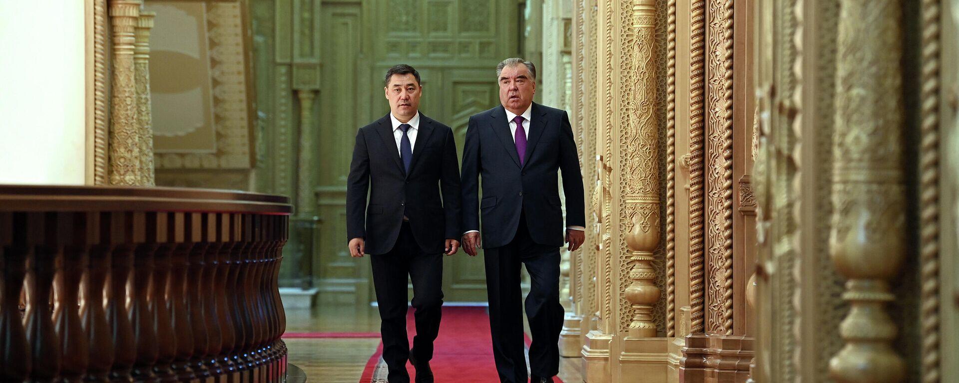 Встреча президента Таджикистана Эмомали Рахмона и президента Кыргызстана Садыр Жапаров - Sputnik Таджикистан, 1920, 29.06.2021