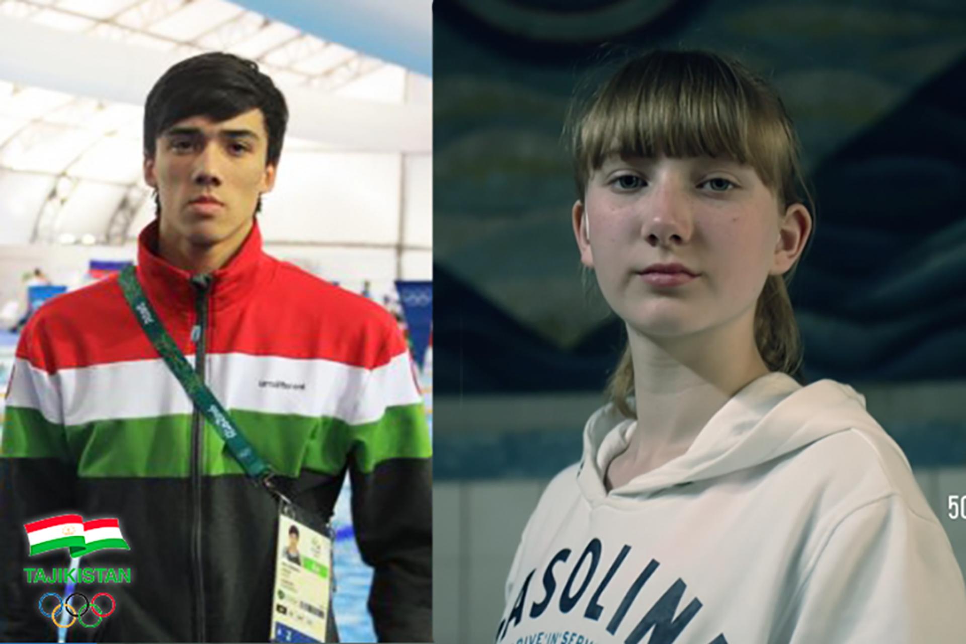 Члены сборной Таджикистана по плаванию Анастасия Тюрина и Олимжон Ишанов - Sputnik Таджикистан, 1920, 30.07.2021