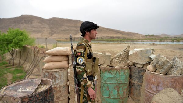 Офицер афганской полиции дежурит на заставе - Sputnik Таджикистан