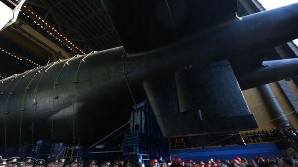 Спуск на воду атомной подводной лодки Белгород в Архангельской области  - Sputnik Таджикистан