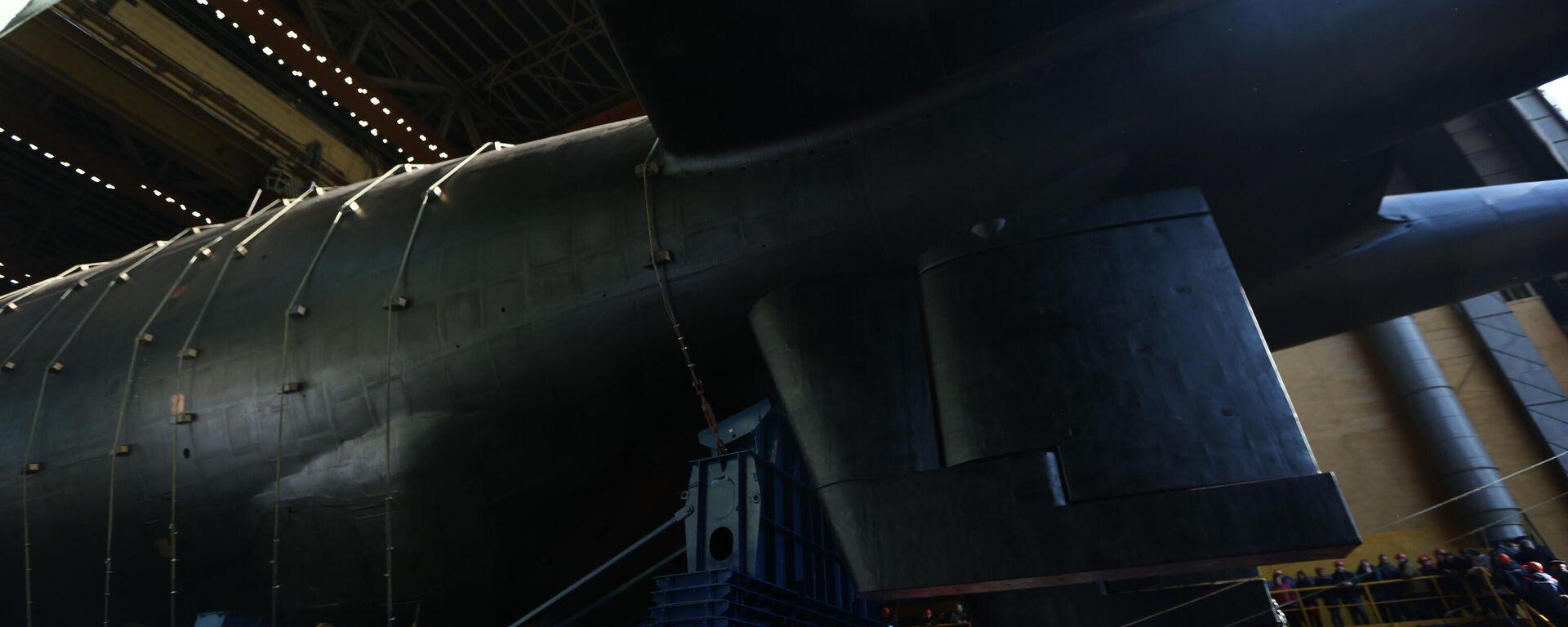 Спуск на воду атомной подводной лодки Белгород в Архангельской области  - Sputnik Таджикистан, 1920, 27.07.2021