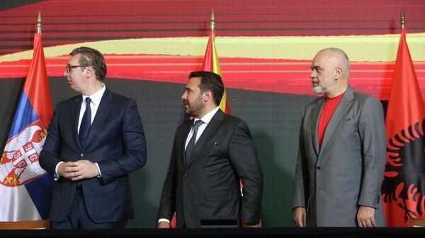 Президент Сербии Александр Вучич, глава кабинета министров Албании Эди Рама и премьер-министр Республики Северная Македония Зоран Заев - Sputnik Таджикистан