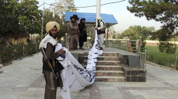 Боевики Талибан* поднимают свой флаг в городе Газни  - Sputnik Таджикистан