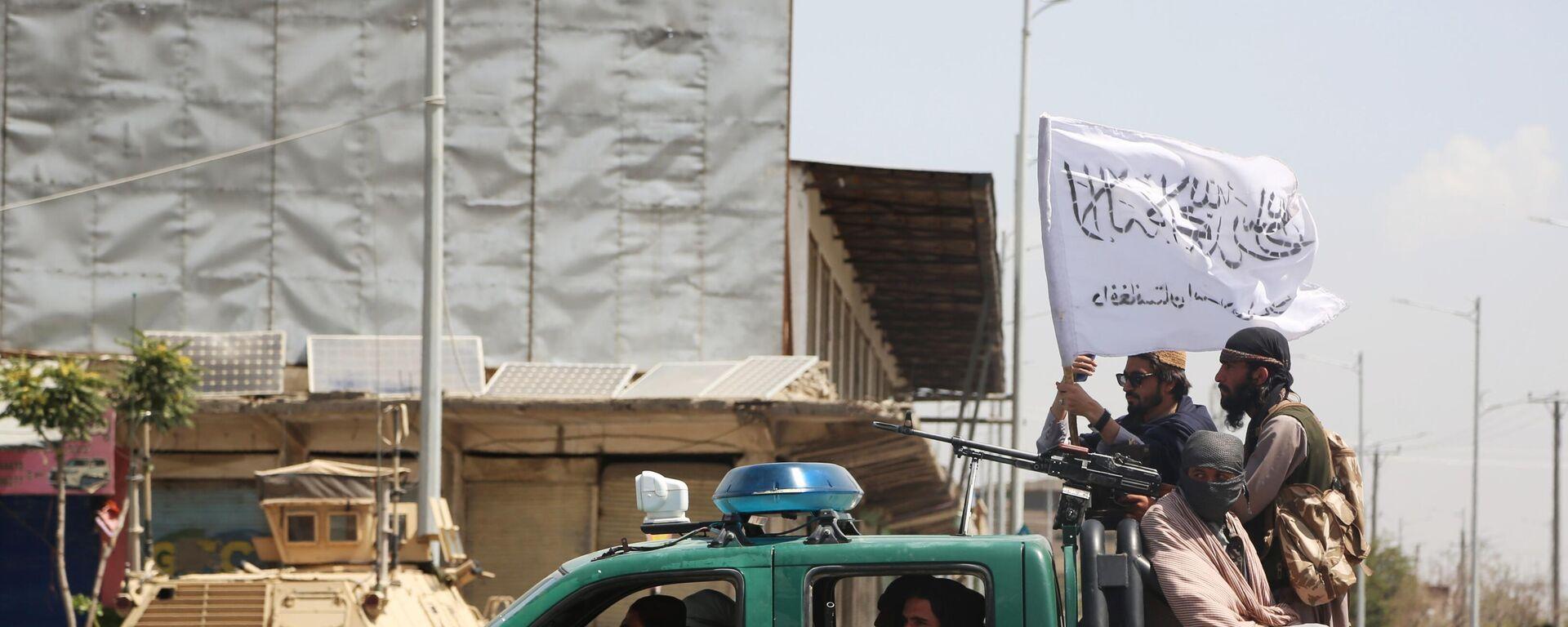 Боевики движения Талибан (террористическая организация, запрещена в России) в Кабуле. Талибы (террористическая организация, запрещена в России) взяли под свой контроль Кабул, столицу Афганистана. - Sputnik Таджикистан, 1920, 06.09.2021