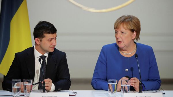Канцлер Германии Ангела Меркель и президент Украины Владимир Зеленский - Sputnik Таджикистан