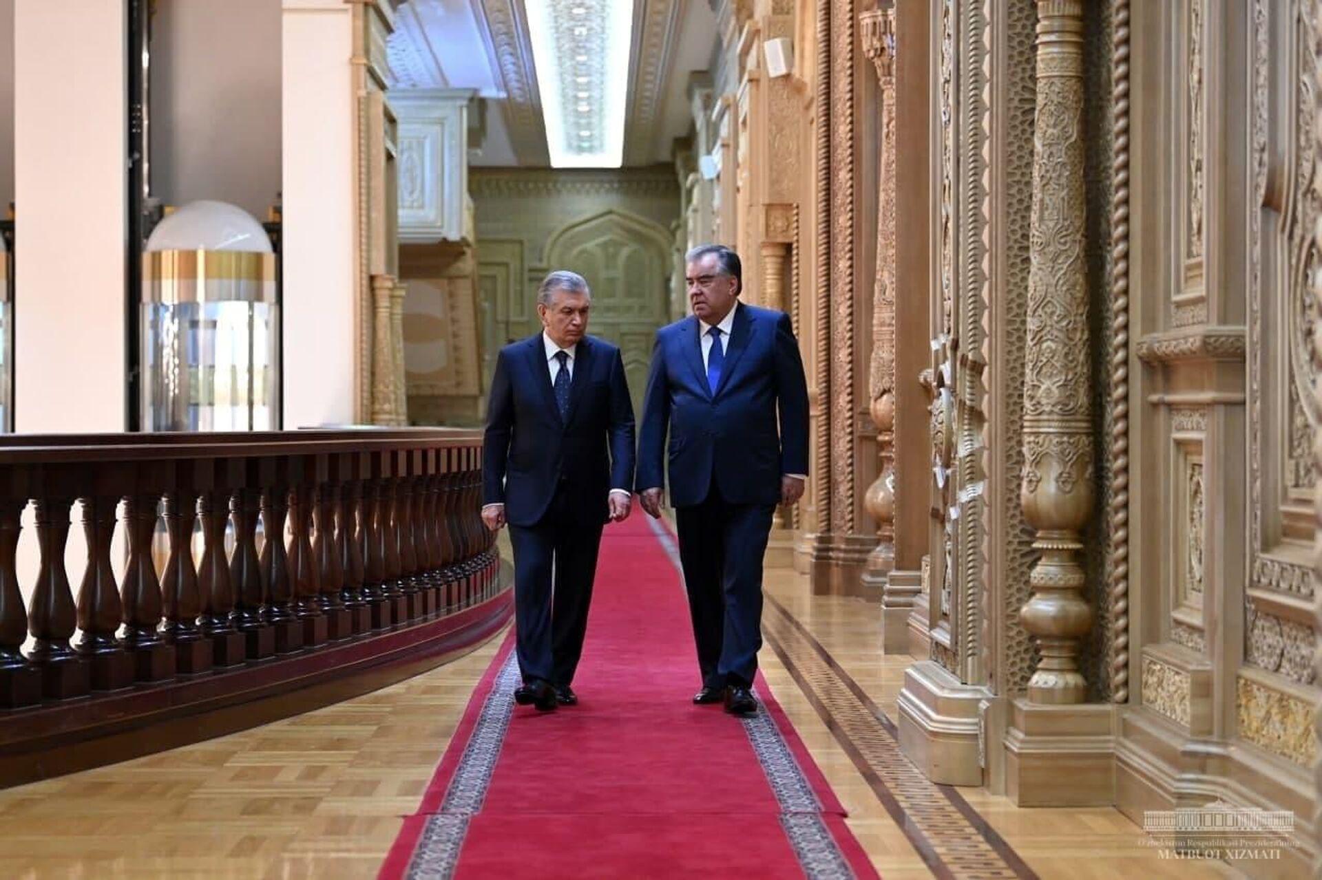 Президент Узбекистана Шавкат Мирзиеев и президент Таджикистана Эмомали Рахмон - Sputnik Таджикистан, 1920, 16.09.2021