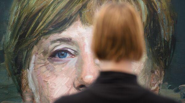 Портрет Ангелы Меркель Колина Дэвидсона на Лондонской художественной ярмарке - Sputnik Таджикистан