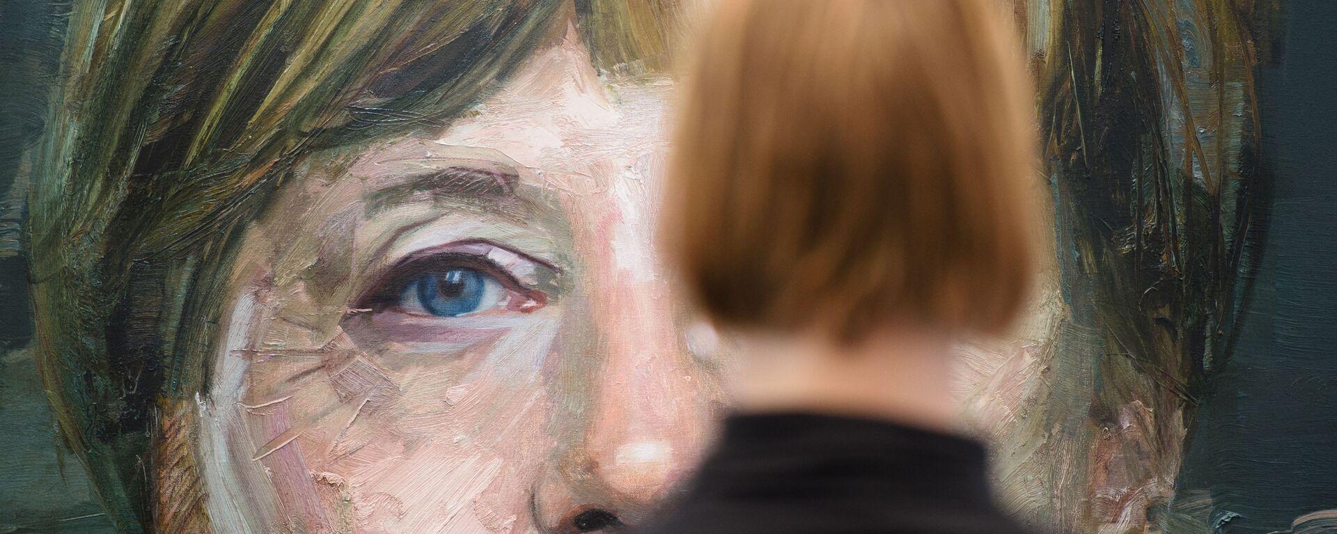 Портрет Ангелы Меркель Колина Дэвидсона на Лондонской художественной ярмарке - Sputnik Таджикистан, 1920, 24.09.2021