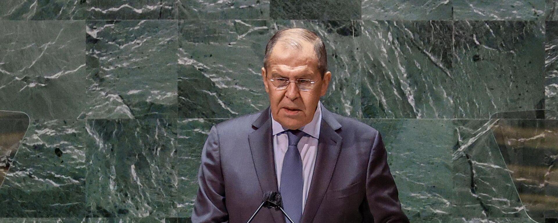 Министр иностранных дел РФ Сергей Лавров во время выступления в ООН - Sputnik Таджикистан, 1920, 26.09.2021