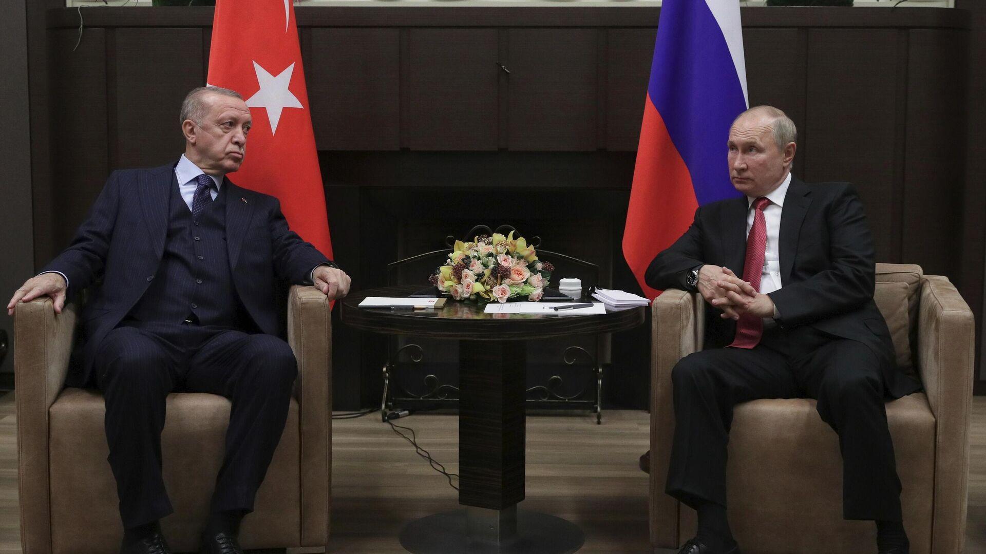 Президент РФ В. Путин провел переговоры с президентом Турции Р. Эрдоганом - Sputnik Тоҷикистон, 1920, 05.10.2021