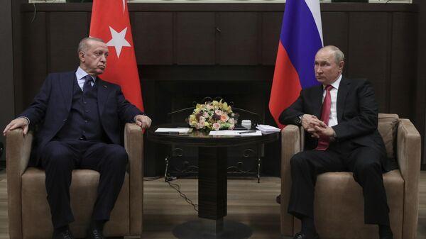Президент РФ В. Путин провел переговоры с президентом Турции Р. Эрдоганом - Sputnik Тоҷикистон