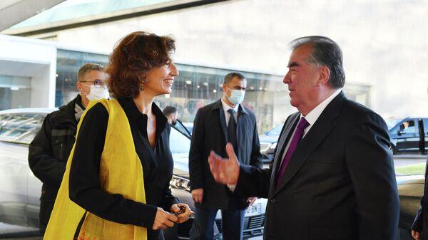 Президент Таджикистана Эмомали Рахмон и генеральный директор ЮНЕСКО Одри Азуле - Sputnik Таджикистан