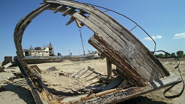 Обломки торгового судна в пустыне, образовавшейся на месте Аральского моря. Архивное фото - Sputnik Таджикистан