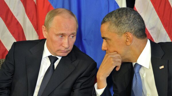 Президент РФ В.Путин на встрече с  президентом США Б.Обамой. Архивное фото - Sputnik Таджикистан