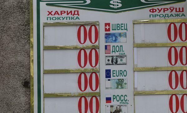Вывеска пункта обмена валют в Душанбе. Архивное фото - Sputnik Таджикистан