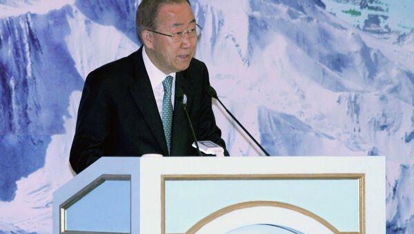 """Пан Ги Мун выступает на конференции """"Вода для жизни"""" 9 июня 2015 года - Sputnik Таджикистан"""