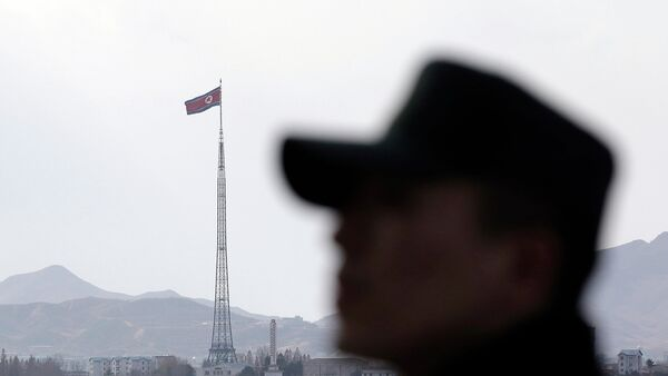 Южнокорейский солдат на границе между Южной и Северной Кореей. Архивное фото - Sputnik Таджикистан