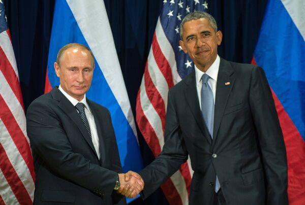 Президент РФ В. Путин и президент США Барак Обама встретились на 70-й сессии Генеральной Ассамблеи ООН - Sputnik Таджикистан