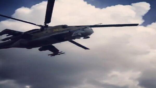 Ми-24-и Русия ҳангоми гаштзанӣ дар ҳудуди пойгоҳи ҳавоии Сурия - Sputnik Тоҷикистон