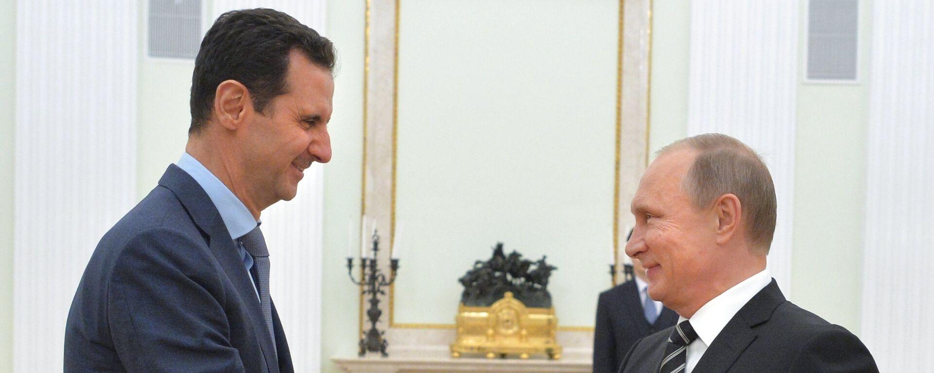 Президент России В.Путин встретился с президентом Сирии Б.Асадом - Sputnik Тоҷикистон, 1920, 14.09.2021