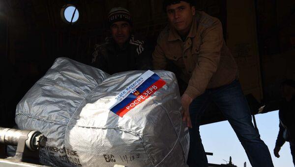 Погрузка гуманитарной помощи из самолета МЧС РФ в аэропорту Душанбе - Sputnik Таджикистан