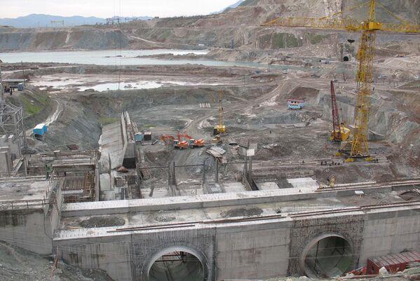 Строительная площадка Сангтудинской ГЭС-1 22 февраля 2007 года - Sputnik Таджикистан