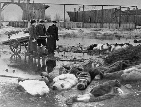 Мужчины хоронят умерших в дни блокады в Ленинграде. Волково кладбище. - Sputnik Таджикистан