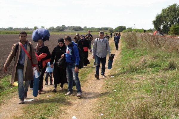 Беженцы на сербско-венгерской границе - Sputnik Таджикистан