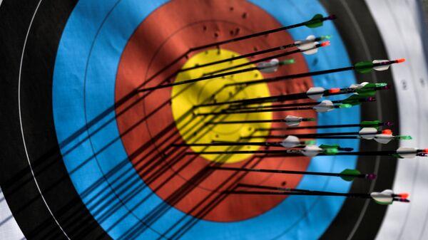 Мишень со стрелами во время соревнований по стрельбе из лука. Архивное фото - Sputnik Таджикистан