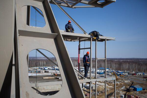 Строительство космодрома Восточный в Амурской области. Архивное фото - Sputnik Таджикистан